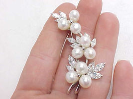 Freshwater PEARLS and CUBIC ZIRCONIA Vintage Floral BROOCH Pin in STERLING  - $85.00