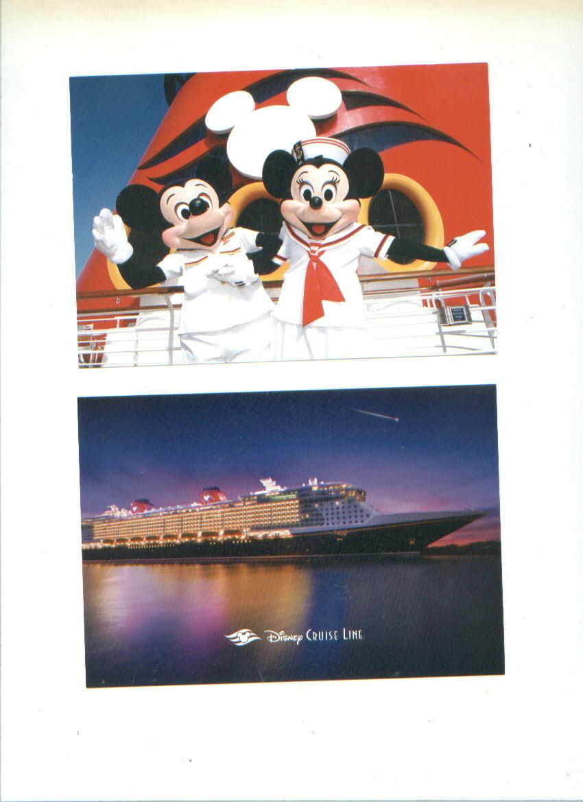 Walt Disney CRUISE LINE smokestack mug + postcards + Vacation Guide Mickey Mouse