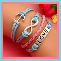 Blue & Pink Infinity, Anchor and LOVE Charms Wrap Layered Bracelet - $4.99