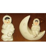 2 Porcelain- Ketchikan Alaska -Eskimo Christmas Ornaments- Artic Kids of Alaska - $16.95