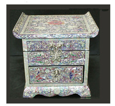 Lacquer mother of pearl nacre woods 2 drawers trinket jewelry jewel box ... - $241.50