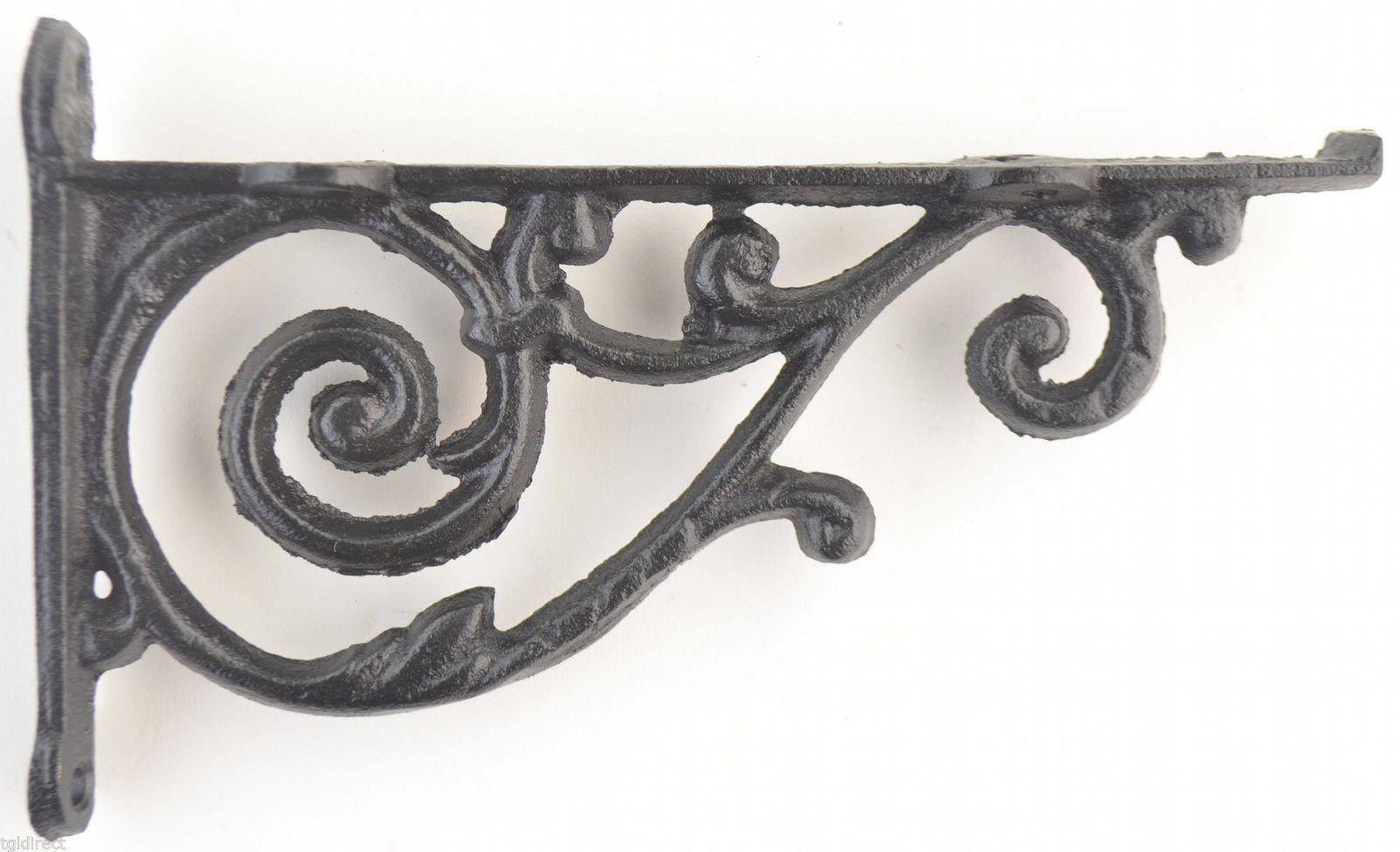 Long Iron Wall Decor : Wall shelf bracket ornate pattern cast iron quot long