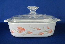 Corning Ware, Peach Floral, Casserole with Glass Lid, circa 1987-90, 1 Q... - $18.00