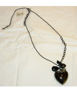 A BEAUTIFUL magnetic HEMATITE HEART Bold PENDANT NECKLACE adjustable length - $15.99