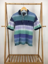 VTG CHAPS Ralph Lauren Men's Bold Striped Crest Short Sleeve Polo Shirt ... - $29.95