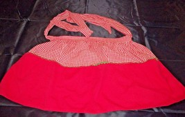 VINTAGE REVERSIBLE RED AND WHITE CHECKED HALF APRON - $7.99
