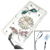 Bling Dragonflies Flower Crystal Hard case for ipod Nano 7th Gen 7G + Strap - $8.81