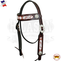 Western Horse Headstall Tack Bridle American Leather Brown Bling Concho U-3-HS - $59.35