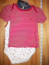 Faded Glory Baby Clothes Newborn Shorts Outfit Shirt Top Cherry Bodysuit... - $12.34