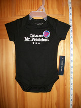 Faded Glory Baby Clothes Newborn Bodysuit Black Creeper Future President Costume - $12.34