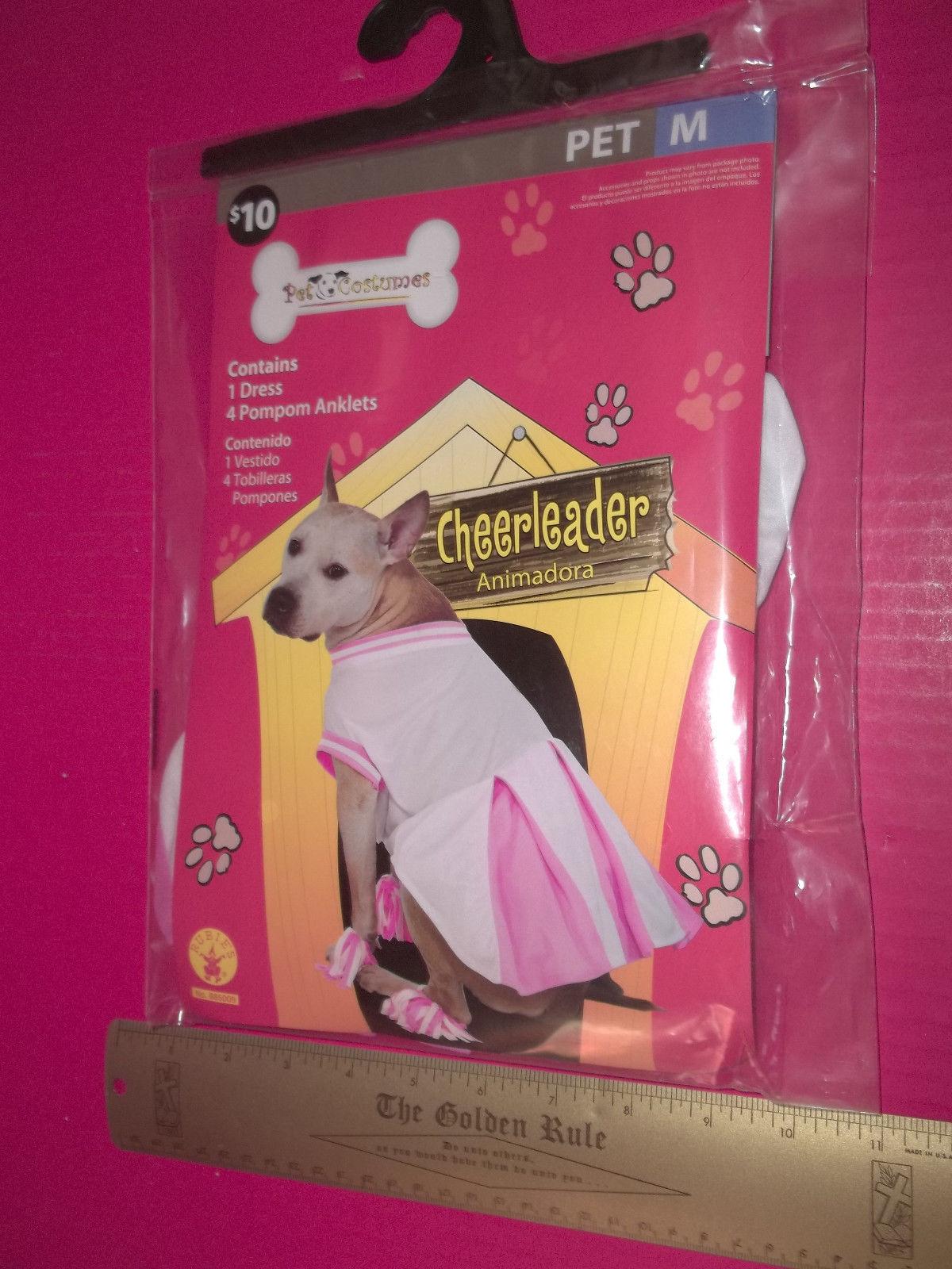 Rubies Pet Costume Dog Cheerleader Outfit Medium Pink White Dress Set Pompoms