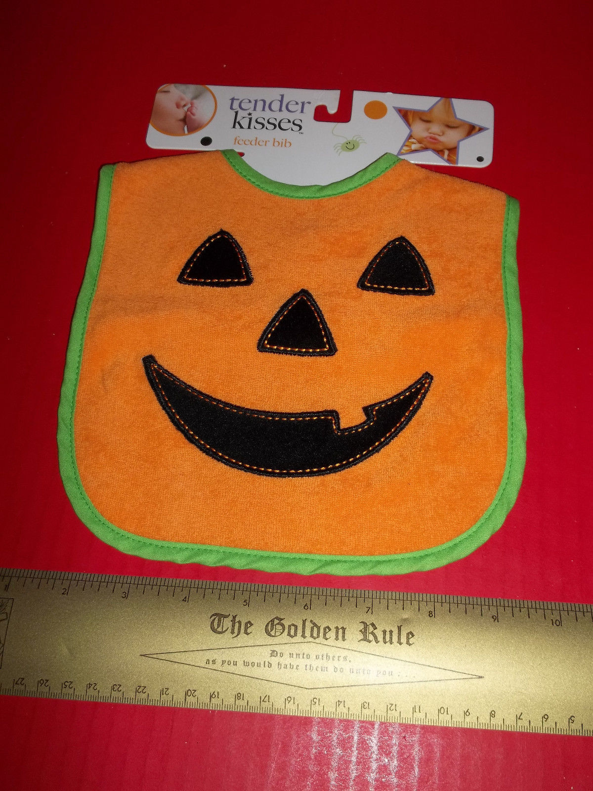 Primary image for Fashion Holiday Baby Clothes Tender Kisses Halloween Orange Pumpkin Feeder Bib