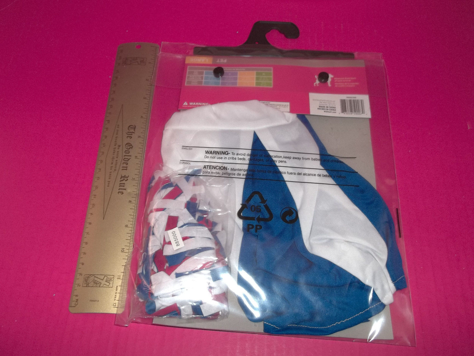 Rubies Pet Holiday Costume Large Dog Cheerleader Outfit Red White Blue Pompoms