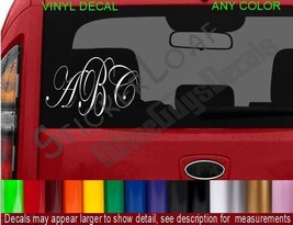 Monogram Decal Initials STICKER Name ANY COLOR car truck decals stickers NEW - $8.99