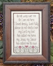 Do Not Weep memorial cross stitch chart My Big Toe Designs - $8.00