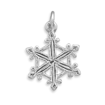Sterling Silver Snowflake Charm with Oxidized Finish - $14.98