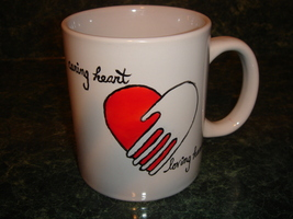 Personalized Ceramic Coffee Mug  Caring Heart  Loving Hands - $12.50