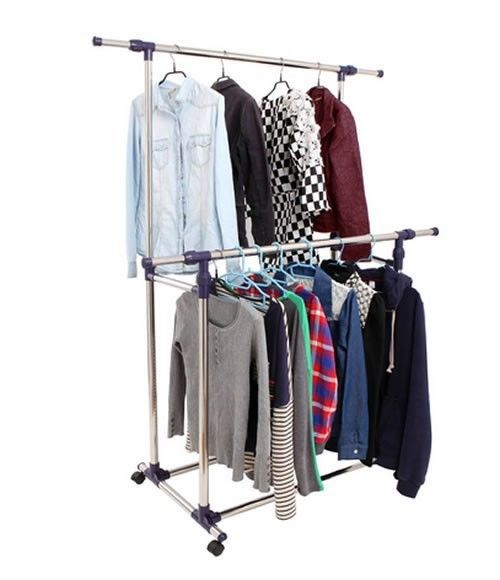 Garment Double Rack Bedroom Wardrobe Closet Organizer Storage Clothes Portable - $57.41
