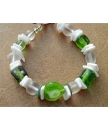 Green and White Lampwork Heart & Shells Bracelet Hand Made In USA - $20.25
