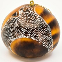 Handcrafted Carved Gourd Art Raccoon Forest Animal Ornament Made in Peru image 2