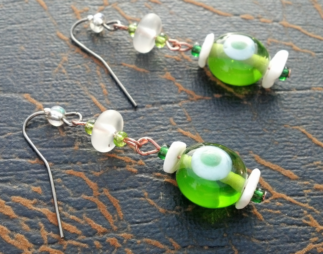 Primary image for Green and White Lampwork Earrings With White Shells Free Ship & Gift Wrap!