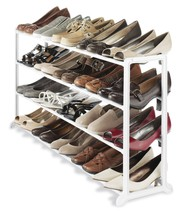 Whitmor White Resin 20 Pair Shoe Rack Organizer Closet Storage - $43.00