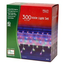 Holiday Wonderland Multi Color 300 Icicle Set Xmas Lights Icicles Path C... - $41.72
