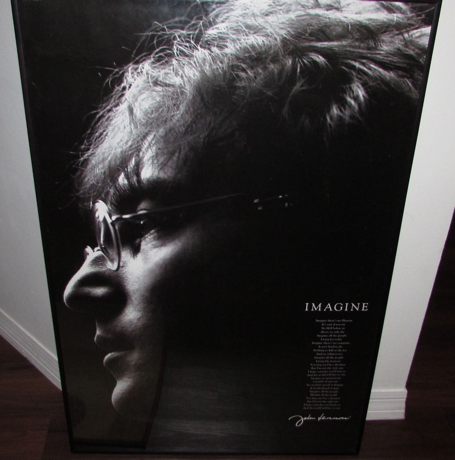 "Framed Poster of John Lennon ""Imagine Lyrics"" 36x24 Celebrities & Musicians"