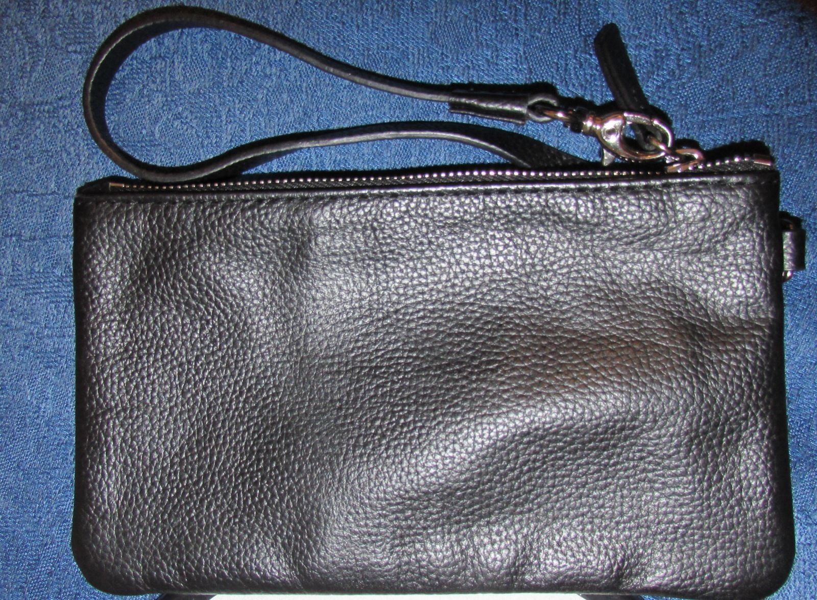 Patti for Hung On U Black Pebbled Grained Genuine Leather Wristlet Small