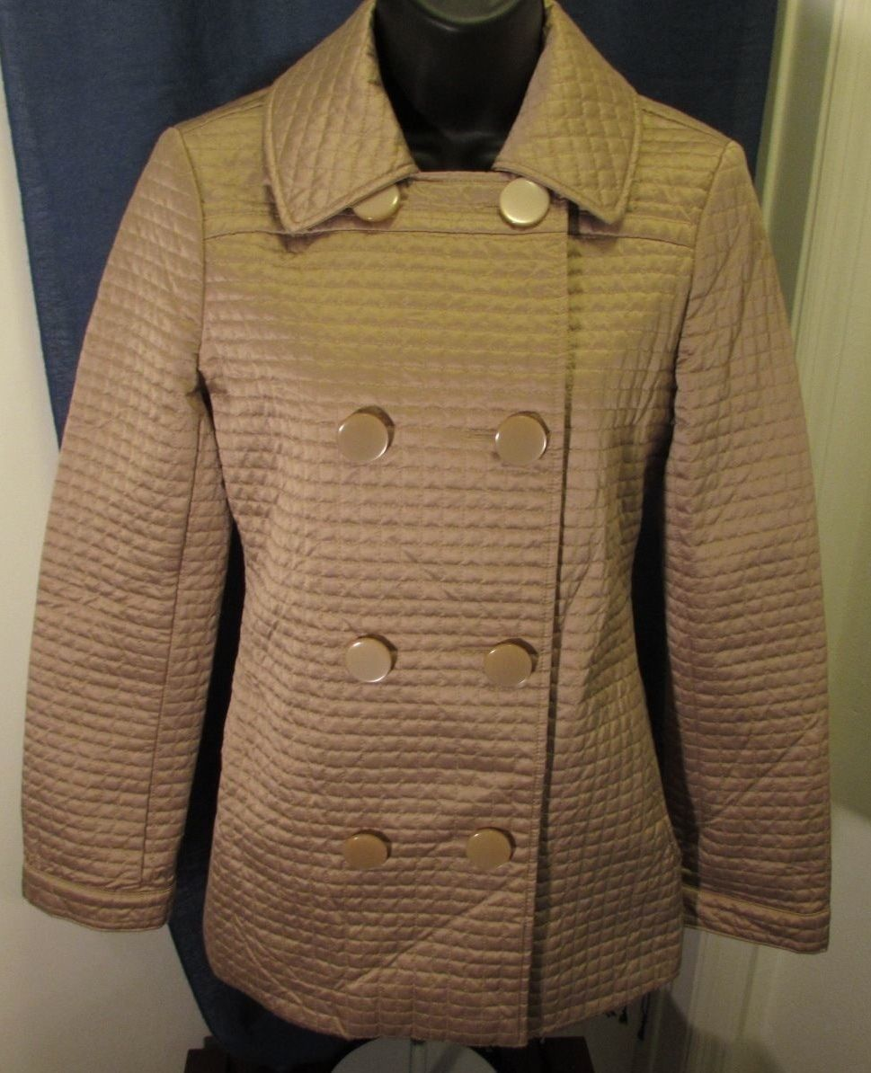 Bebe Tan Double-Breasted Quilted Jacket Size: 8