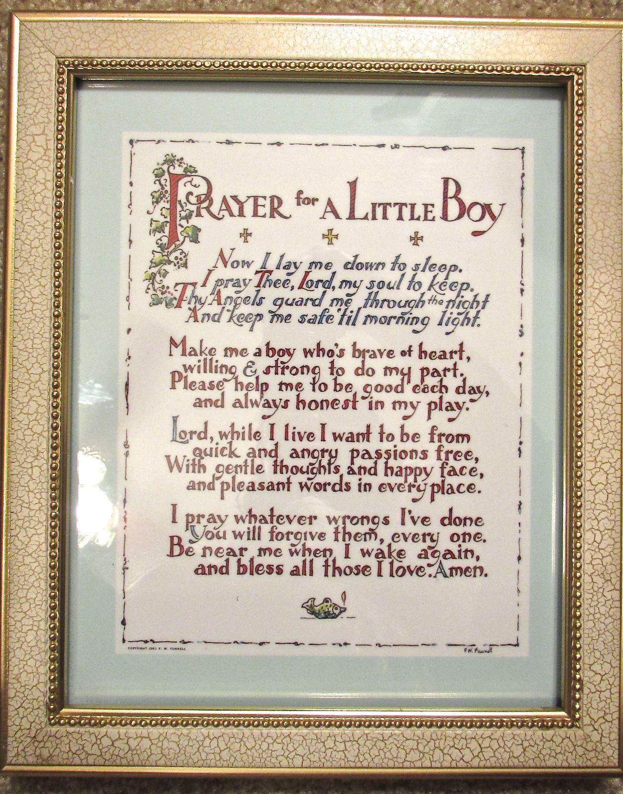 """Vintage F. W. Funnell """"Prayer for a Baby Boy"""" Beige Framed Wall Art 8x11 Boys"""