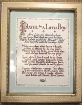 "Vintage F. W. Funnell ""Prayer for a Baby Boy"" Beige Framed Wall Art 8x11 Boys"