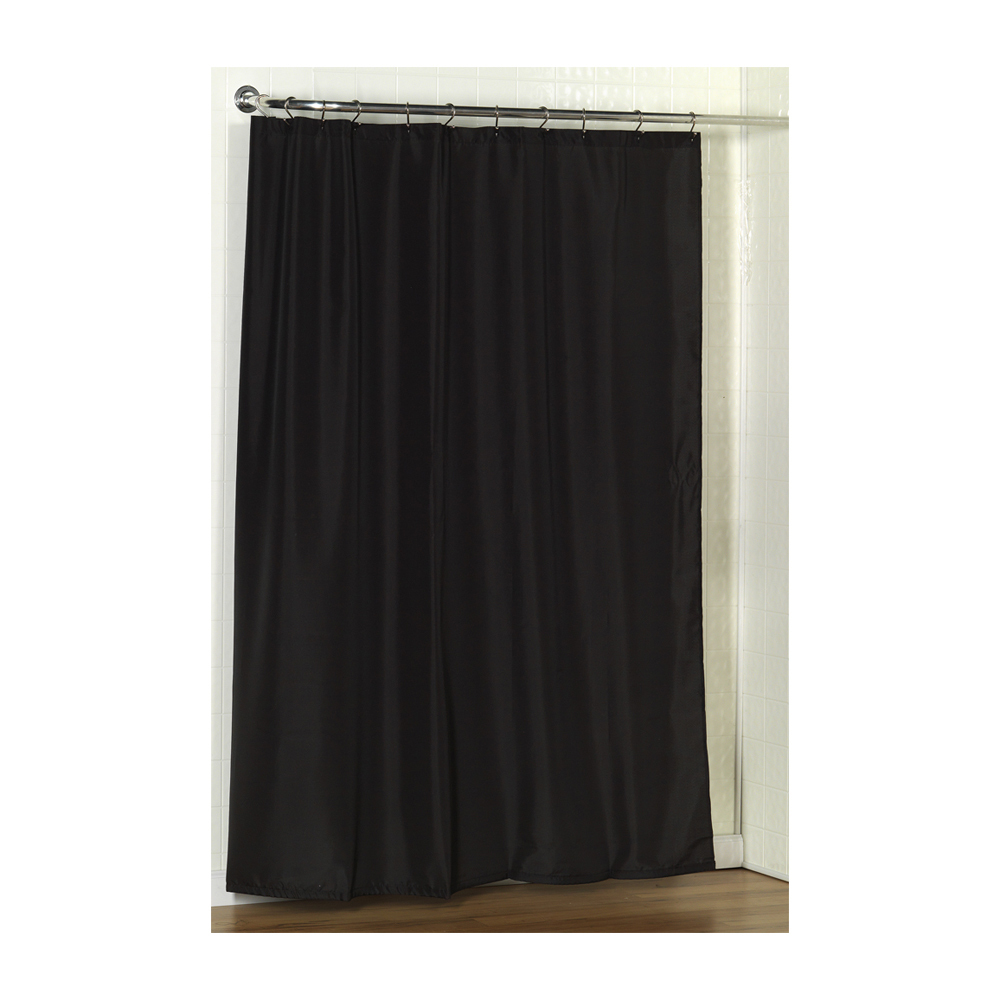 Standard-Sized Polyester Fabric Shower Curtain Liner in Black 1301-SC-FAB-16