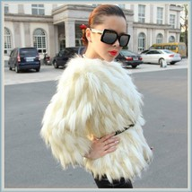 Long Tufted White Haired Ivory Faux Fur Short Coat Jacket Inside Covered Buttons image 1