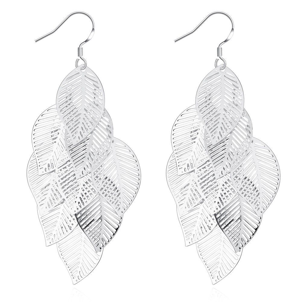Fashion Jewelry Gold/Silver Women Drop Earrings Leaves Slice Hook Earring