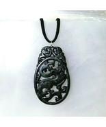 Vintage Carved Jade Dragon Medallion Pendant Necklace Good Luck Charm Gift Ideal - $52.00