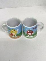 M&M's Coffee Mugs Featuring Green & Yellow; Blue & Red 2002 Rare Collect... - $15.24