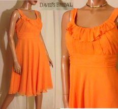 Orange Crinkle Sheer Chiffon Spaghetti Strap Bridesmaid Dress~6~DAVID'S ... - $40.70