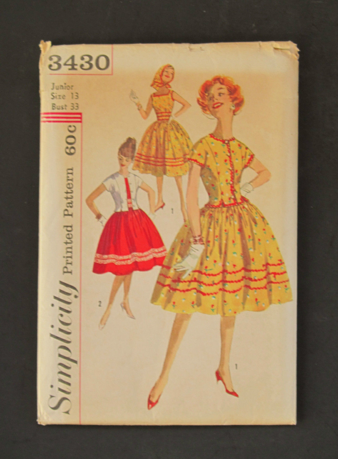 Simplicity UNCUT #3430 Pattern 1950s Dress/Jacket Cute and Classic! Sz 13
