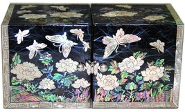 mother of pearl trinket jewelry box jewel case organizer peony & butterf... - €54,52 EUR