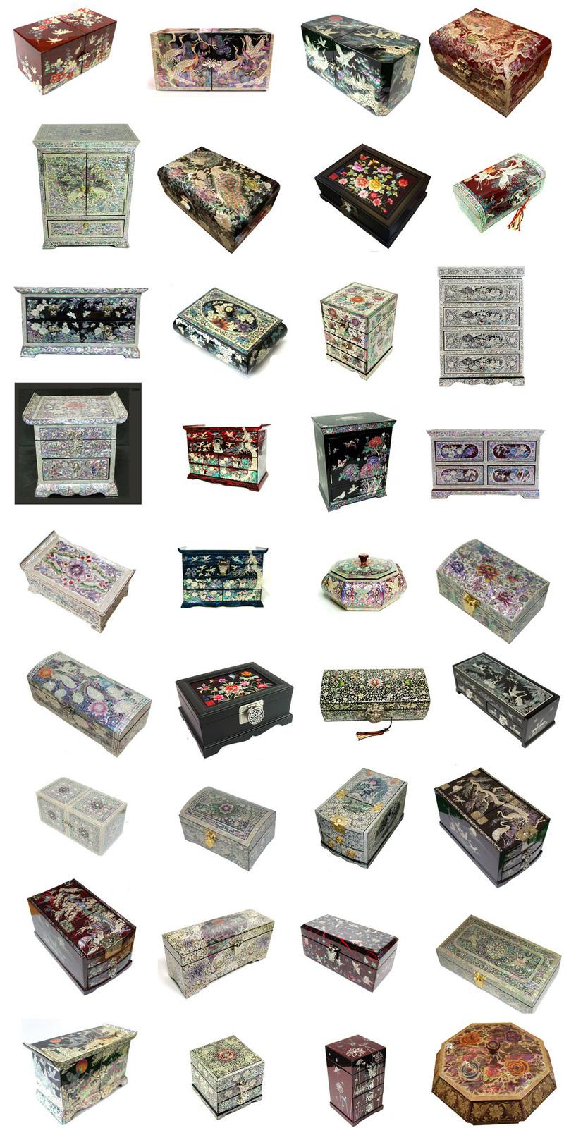 mother of pearl trinket jewelry box jewel case organizer peony & butterfly #208