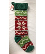 """Vintage Inspired Knit Wool Stocking Green Red Star Handmade in Nepal 24""""... - $49.95"""