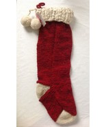 Vintage Inspired Knit Wool Stocking Red w White Cuff Handmade in Nepal 2... - $49.94