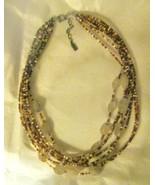 Vtg Peyote Bird Designs rutilated quartz bead multi strand choker neckla... - $89.09