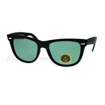 Glass Lens Sunglasses Soft Matte Finish Classic Square Black - $9.85