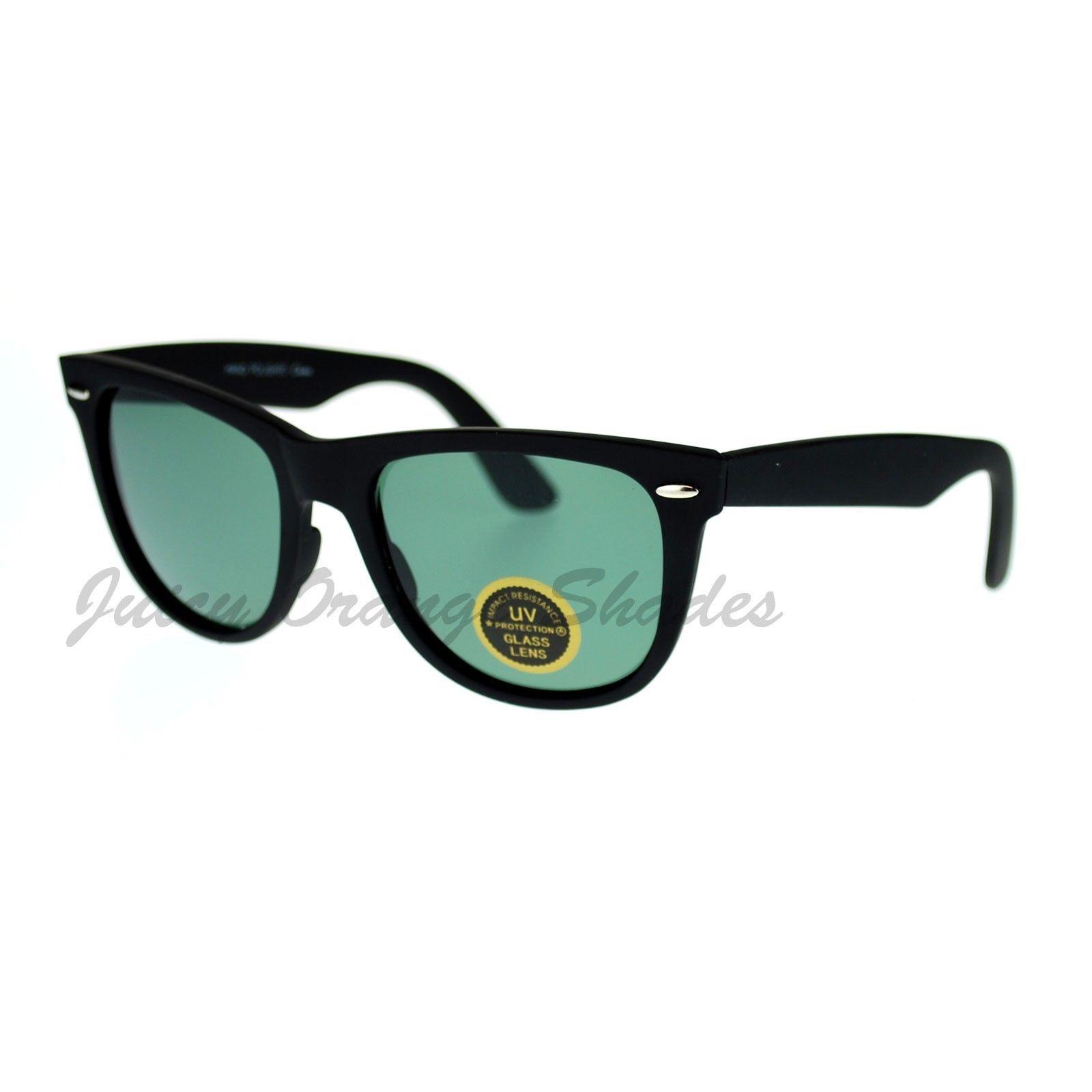 Glass Lens Sunglasses Soft Matte Finish Classic Square Black