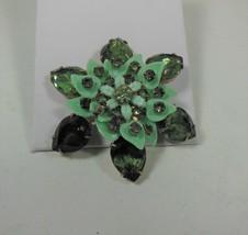Vintage Green Glass & Rhinestone Floral Pin Brooch - $17.81
