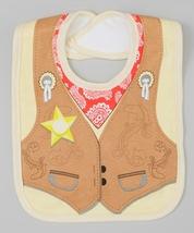 Baby Bib Cowboy Graphics Tie Bib Brown Yellow Infant MSRP $22.00 YOU SAV... - $18.99