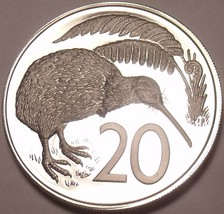 Rare Proof New Zealand 1975 20 Cents~Only 10,000 Minted~Kiwi Bird~Excellent~Fr/S - $11.38