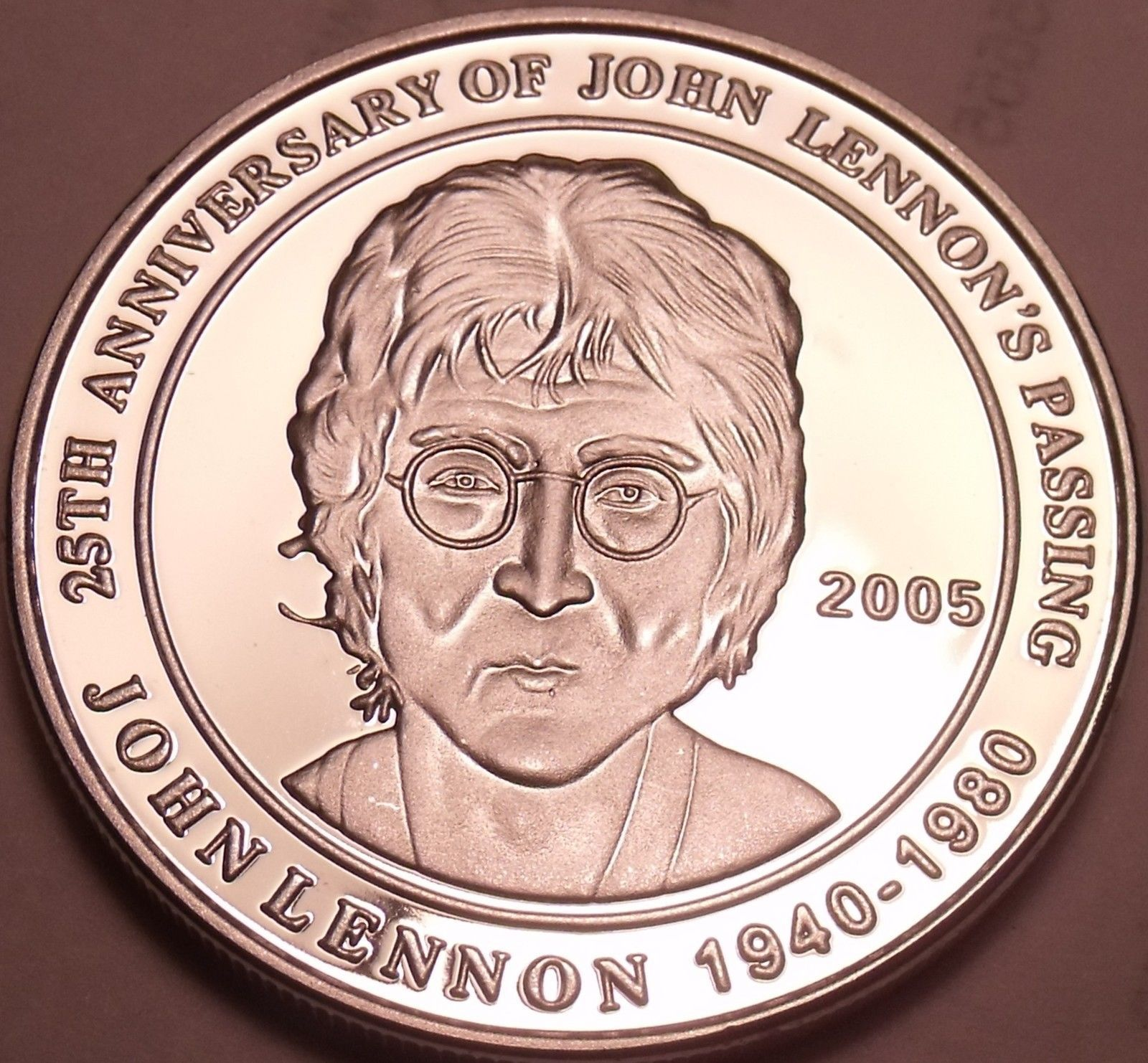 Cameo Proof Cook Islands Commemorative Silver Medallion~John Lennons Passing~F/S - $20.12